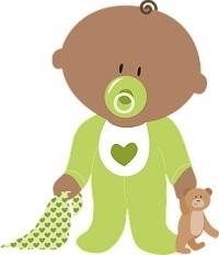 Bébé avec tétine et doudou