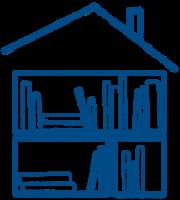 dessin au trait bleu représentant une maison composée d'étagères de livres